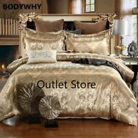 2/3/4pcs Luxury Jacquard Queen King Duvet Cover Set Imitation Silk Bedding Sets