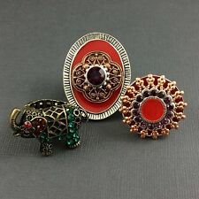 3 Cocktail Sparkly Rhinestone Adjustable or Stretch Rings Metal Elephant Reds