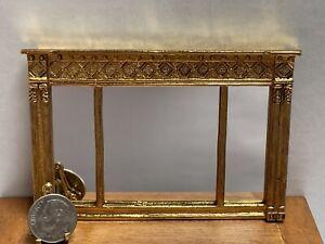 Vintage HANDCRAFT Gold Metal 3 Panel Mirror Dollhouse Miniature 1:12