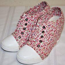 Womens Ladies Charlotte Russe Pink Floral Sneakers Wedge Heels Shoes Size 7