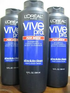 3 L'oreal Vive Pro for Men Shampoo Conditioner and Body Cleanser, Absolute Clean