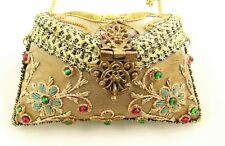 Vtg India Embroidered Bead Fabric Board Pillow Purse Velvet Lined Chain Strap