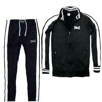 EVERLAST tuta da uomo sport completo acetato felpato giacca zip senza cappuccio