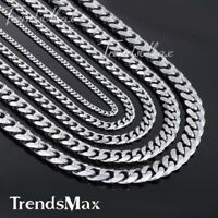 3/5/7/9/11MM Cuban Curb Link Stainless Steel Necklace Silver Tone Boy Mens Chain