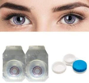 1 Pair Monthly Violet Colored Contact Lens Zero Power With Lens Case