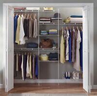 Closet Organizer With Shoe Shelf 5 Shelves 3 Hanging Racks, White 5-8 ft Wide