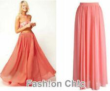 Coral Chiffon Double Layers Maxi Long Skirt