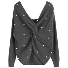 Women's Fashion Twist Pearly V Neck Sweater Loose Pullover Sweater ONE SIZE