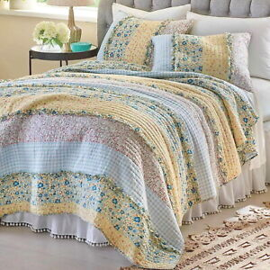 DITSY RUFFLES 3p King QUILT SET : BLUE YELLOW PINK COTTAGE CHIC RAG SHABBY