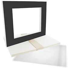 "10 16""x20"" Black Picture Mat Set White Core Bevel 11""x14"" Photos Backers & Bags"