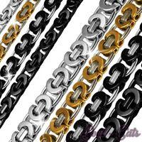 Königskette flache Halskette Panzerkette Herren Edelstahlkette Armband silber
