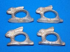 4 Easter Bunny Rabbit Napkin Ring Holders Holiday Silver Metal Faux Pewter set 4