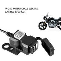 Waterproof 12V Dual USB Motorcycle Handlebar Charger Socket w/ Switch & Mounts