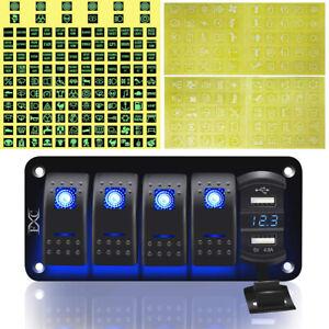 5 Gang Toggle Rocker Switch Panel Dual USB for Car Boat Marine RV Truck Blue LED