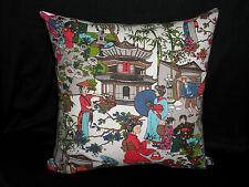Multicolour Oriental Asian Scene Decorator Feature Cushion Cover 45cm Au Made