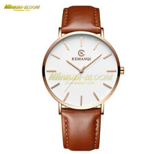 Men's Leather Stainless Steel 6.5mm Ultra-thin Business Quartz Wrist Watch