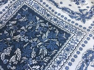 """New Ralph Lauren White and blue Tablecloth 60"""" X 104"""" Oblong"""