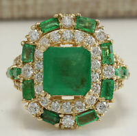 6.90 Carat Natural Emerald 14K Yellow Gold Diamond Ring