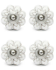 4 Pcs Flower Ceramic Knobs Door Handle Cabinet Drawer Cabinet Pull White