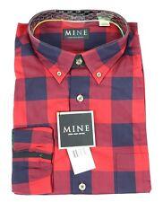 MINE London Milan New York Red Plaid Shirt Long Sleeve Mens Large $125 NWT