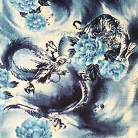 Japanese tiger and dragon fabric, tattoo blue, oriental cotton, chinese, asian