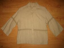 Women's Unbranded Lace ¾ Sleeve Classic Collar Linen Shirt Top Size L UK 14