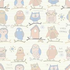 DEBONA TWIT TWOO OWL BIRD MOTIF STRIPED CHILDRENS METALLIC WALLPAPER BEIGE