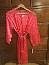 New W/Tag Morgan Taylor Satiny Polyester Pink Robe Lace Trim Belted Pocket L/XL