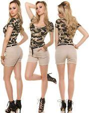 Sexy Shorts Kurze Hose Bermudas Hot Pants Koucla Stretchhose Gürtel beige XL