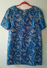 Dress size UK 16 EUR 44 elegant party evening clubbing blue floral mini tunic
