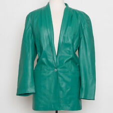 Vera Pelle Green Leather Jacket Made in Italy Size S (US 2-4 Italy 40)