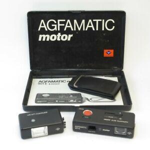 Agfamatic 901E Motor Sub-Mini Camera & LUX 901 Flash w/ Case in Box (untested)