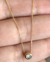 Solid 9ct Yellow Gold Solitaire Diamond Necklace 0.15ct Rubover Bezel Set Single