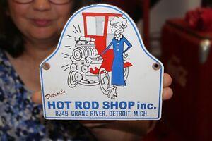 Hot Rod Shop Car Racing Parts Chevy Ford Mopar Gas Oil Porcelain Metal Sign