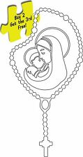 """Rosary Catholic Beads Baby Jesus and Mother Mary Christian Decal 7.0""""  # 201A"""