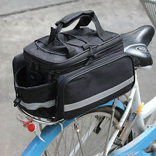Black Expanding Bike Bicycle Pannier Saddle Rear Seat Travel Bag with Raincover