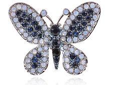 Fashion Opal Crystal Rhinestone Butterfly Insect Bug Custom Adjustable Ring