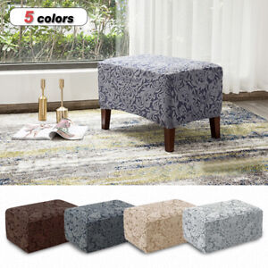 Jacquard Weave Sofa Footstool Cover Elastic Stretch Ottoman Slipcover Protector
