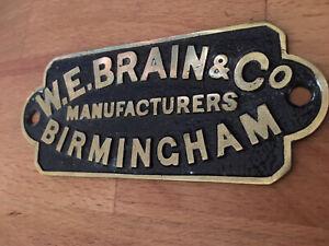 Vintage Original Victorian Brass Safe Plaque W E Brain Birmingham