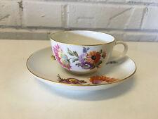 KPM German Porcelain Cup & Saucer w/ Painted Floral & Insect Decoration