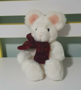 Russ Berrie Tic Toc Mouse Plush Stuffed Animal Toy 101334 White Burgundy Bow