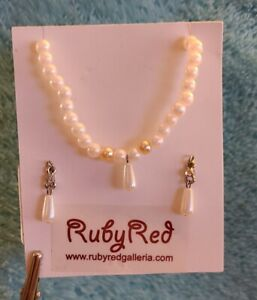 Bleuette Jewelry - Pearl like Necklace & Earrings by Ruby Red Galleria - New