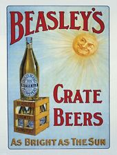Beasley's Crate Beer, Old Pub, Bitter Ale, Bar, Hotel, Small Metal/Tin Sign