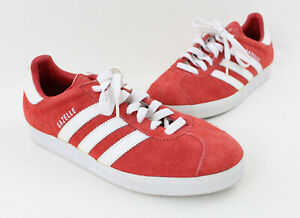 Adidas Women's Red Suede Gazelle Lace Up Sneaker Shoe Size 7.5