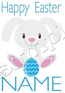 Iron on Transfer PERSONALISED CUTE BUNNY RABBIT HAPPY EASTER BLUE EGG 11x15cm