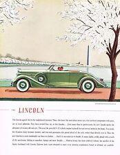 1935 BIG Vintage Green Lincoln Le Baron Convertible Roadster Car Art Print Ad