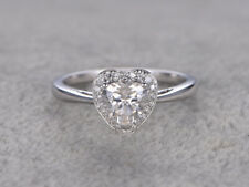 Real 14K White Gold 1.50 Ct Heart Diamond Engagement Beautiful Ring Size 7.5 8
