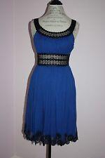 NWT Womens $425 Catherine Malandrino Blue Empire Waist 100% Silk Dress Size 4