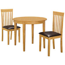 Oak Round Extending Extendable Dining Table and Chair Set with 2 Leather Seats