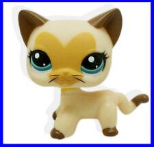 Littlest Pet Shop Cream Tan Brown Short Hair Cat Heart Face Kitty LPS #3573 B